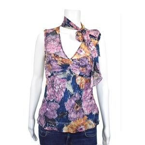 BCBG MaxAzria Floral Neck Scarf Blouse Size XS